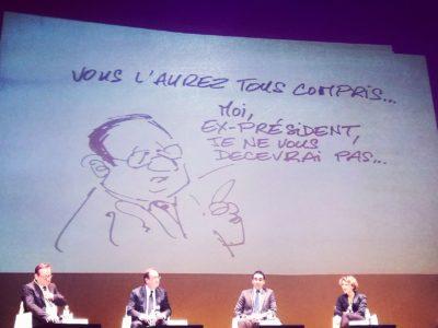 Des caricatures des dessinateurs Large et Urbs étaient projetées pendant la conférence.