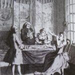 """Un libertin en train de vérifier que son """"condom"""", comme on disait au XVIIIè siècle, n'est pas percé. Il était courant de réutiliser les préservatifs."""