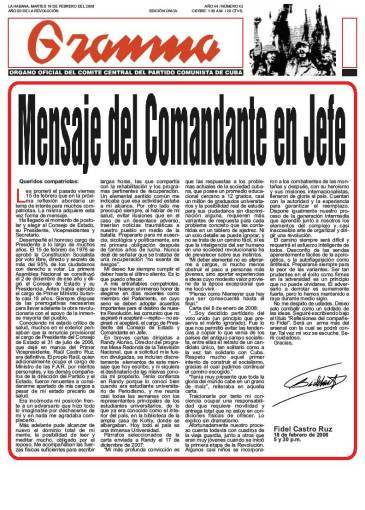 « Réflexions du camarade Fidel »