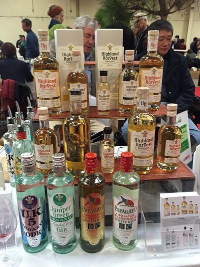 Stand britannique d'alcools forts bio