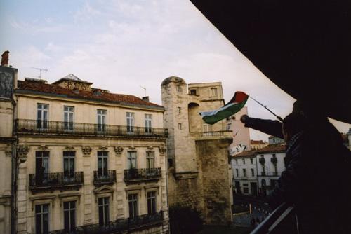Jeune homme au drapeau palestinien