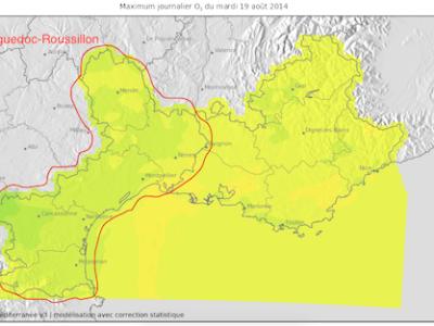 Instantané : Maximum d'ozone relevé dans le Languedoc-Roussillon le 19 août 2014